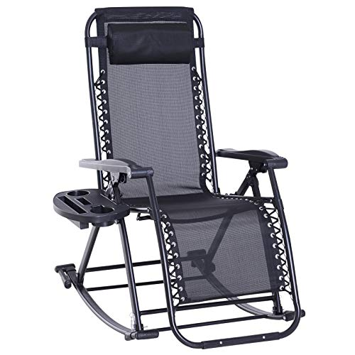 Outsunny Folding Zero Gravity Rocking Lounge Chair with Cup Holder Tray - Black ()