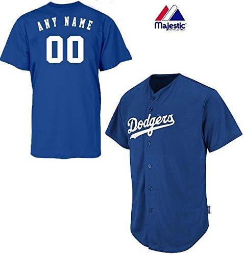 Majestic Athletic Los Angeles Dodgers Full-Button CUSTOMIZED (Any Name & Number on Back) Major League Baseball Cool-Base Replica MLB Jersey