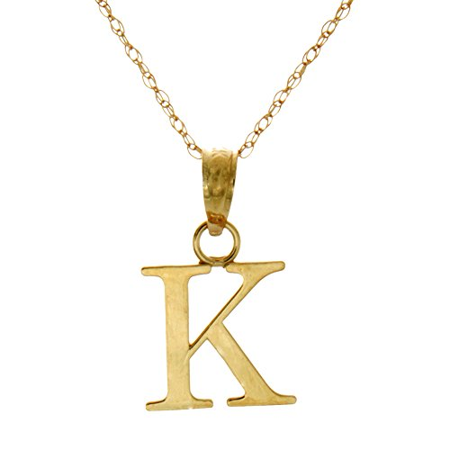 14k Yellow Gold Letter Charm Pendant, K Block Initial, High Polish (with 18 Inch Gold Chain)