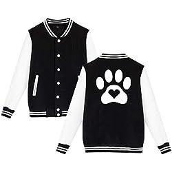 Paw Print Heart Dog Cat Unisex Baseball Uniform Jacket Sweater Coat Black