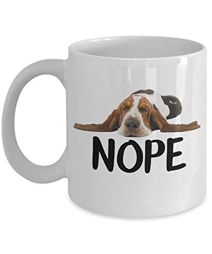 Nope Coffee Mug Lazy Basset Hound Dog Lover Gift 11 Oz Mug