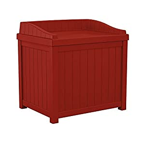 22 Gal. Small Storage Seat Patio Deck Box in Red Finish