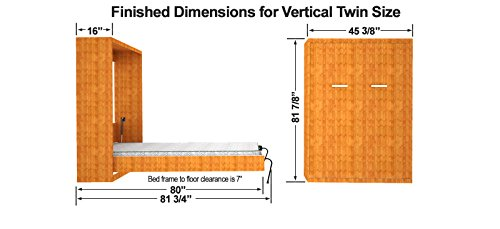 Twin Size Easy Diy Murphy Wall Bed Hardware Kit Vertical