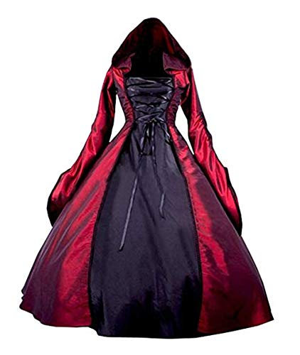 Nobility Baby Women's Renaissance Medieval Witch Costume Dress, Long Sleeved Trumpet Gothic Victorian Fancy Party Dress (L, Red) ()