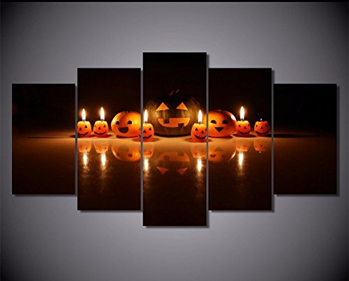 Home Decor Wall Art Painting Calligraphy Halloween Pumpkins Face Canvas Paintings Prints Poster Art Picture Frameless 5 Panels Oil Painted No Framed]()