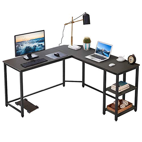Vanspace L-Shaped Desk Corner Computer Desk with Storage Bookshelf and CPU Stand, Home Office Desk Gaming Workstation Writing Table – Black