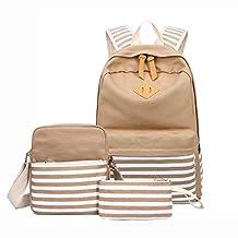 Backpack for Girls Canvas School 3 Pcs/Set Fashion Laptop Bookbag for Women College Bookbags Travel Daypack (Khaki)