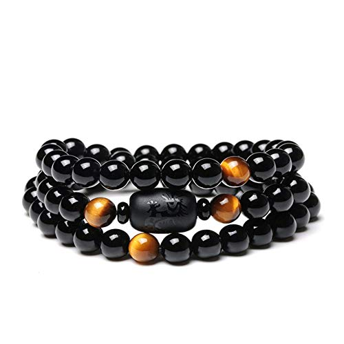 SX Commerce Natural Crystal Obsidian Stone Bead with Tiger Eye Bracelet 8mm Multi Circle Dragon Totem Ladies Men Jewelry (Tiger Eye)
