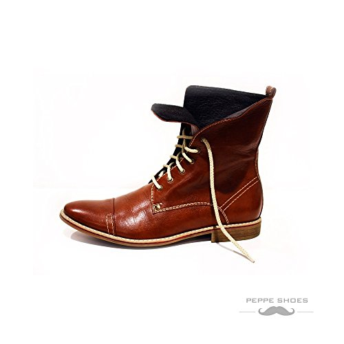 Modello Florenze - 12 US - Handmade Italian Mens Brown High Boots - Cowhide Smooth Leather - (Italian Handmade Brown Leather Boots)