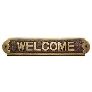 """naiture latón macizo """"Welcome Sign en 2acabados"""