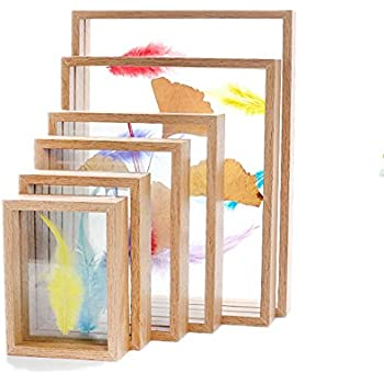 5c0b19cda5f8 Square photo frame a set of five double side glass specimen photo frames  for transparent table