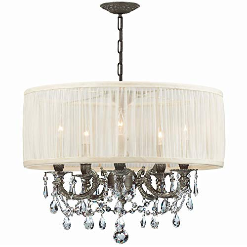 (Crystorama 5535-PW-SAW-CL-MWP, Brentwood Mini Crystal Chandelier Lighting, 5LT, 300 Watts, Pewter )