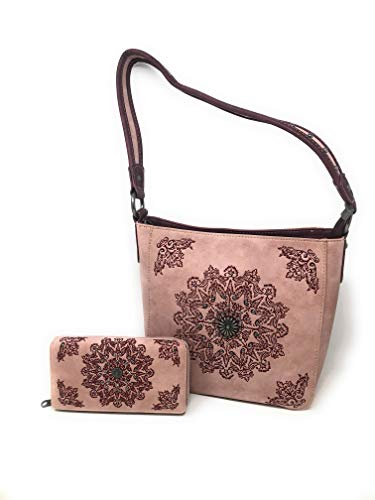 Set of Women's Concealed Carry Hobo Single Strap Purse with Mandala Boho Design with Matching Wallet (Pink)