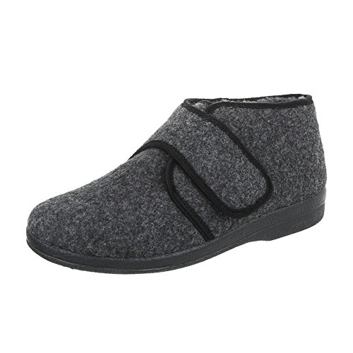Pantoffeln Herrenschuhe Pantoffeln Klettverschluß Klettverschluss Ital-Design Hausschuhe Grau
