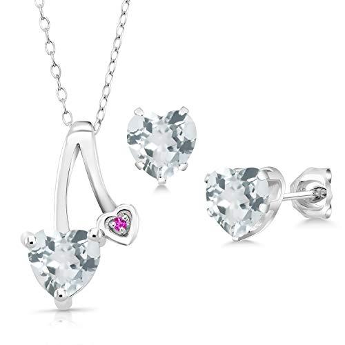 - Gem Stone King 2.02 Ct Sky Blue Aquamarine Pink Sapphire 925 Silver Pendant Earrings Set