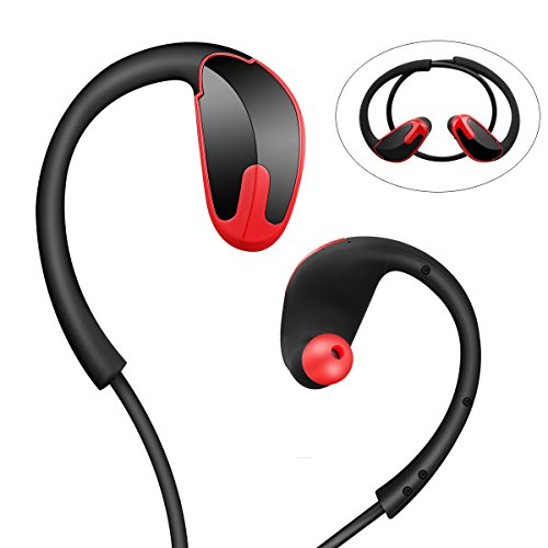 Wireless Sports Earbuds,Sports Bluetooth Earphones V 4.1 Bluetooth Headphones w/Mic IPX7 Waterproof HD Stereo Sweatproof Earbuds for Running Gym Exercise Hands-Free 10 Hour Battery (Black Red)