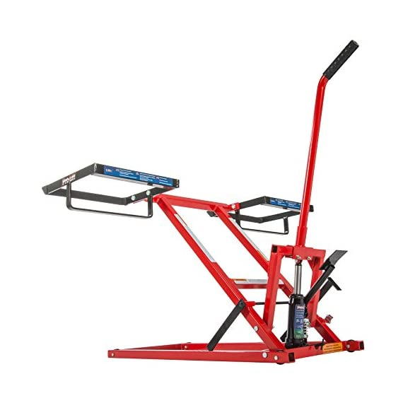 Pro Lift Lawn Mower Jack Lift with 300 Lbs Capacity for Tractors and Zero Turn Lawn Mowers 3 Safety Lock for Safely Supporting the Load Rubber Padded Platform to Prevent Scratching and to Protect your Machine Non-Slip Foot Pedal Allows Effortless Lifting the Load