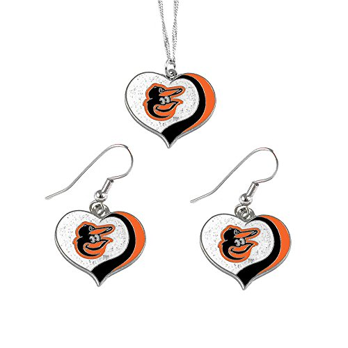 Mlb Baltimore Orioles Charm (Baltimore Orioles MLB Sports Team Logo Charm Gift Glitter Heart Necklace and Earring Set)