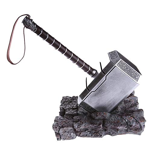 (Mastergoswords 2019 Avengers Thor Mjolnir Resin Hammer Collectible 1:1 Replica Cosplay Costume Prop Toy (with Standing Base))