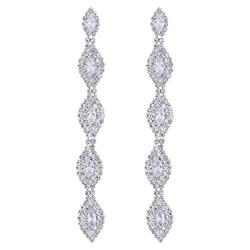 Wedding Bridal Prom Marquise Crystal Rhinestone Cluster Navette Long Dangle Drop Statement Earrings (Cubic Zirconia Marquise Stud)
