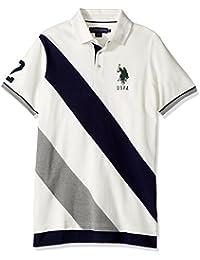 Men's Classic Fit Color Block Short Sleeve Pique Polo Shirt