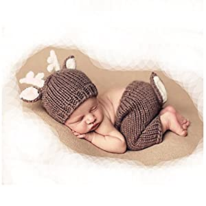 Fashion Cute Newborn Baby Photography Props Outfits Lovely Deer Crochet Knitted Hat Pant for Boy Girl