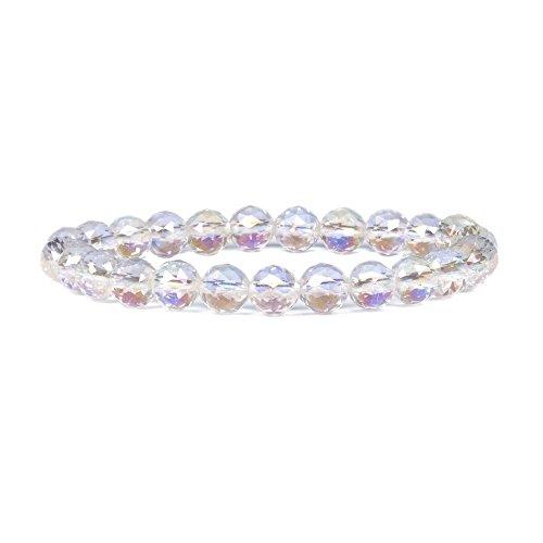 - Aqua Aura Faceted Natural Clear Quartz Gemstone 8mm Round Beads Stretch Bracelet 7