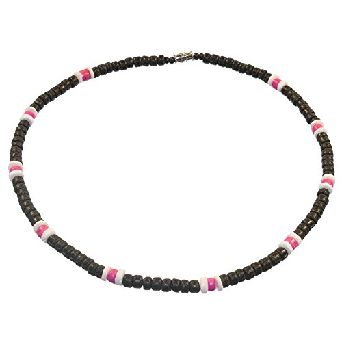 Black and Pink Surfer Necklace Made from Coco Beads with White Pukalet Shell Accents, Barrel Lock (16 IN)