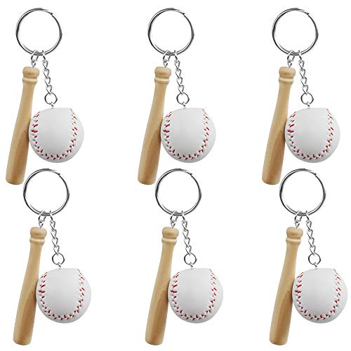 (Baseball & Wooden Bat Keychains 6 Pack Baseball Party Favors for Baseball Themed Party, Birtyday Party and Goody Bags)