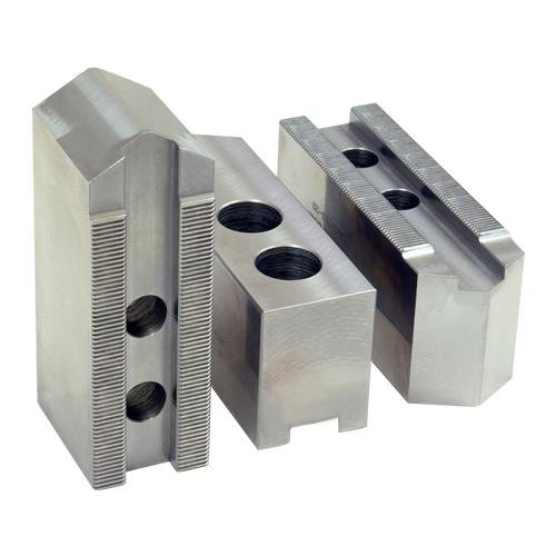 KT Part#: 8150AP Ð Aluminum Soft Jaws for 8'' Chuck - 1.5mmx60 - (3.750 L x 1.500 W x 1.500 H) Groove Width: 0.551 (14mm)/Screw Size: 12mm/Hole Space: 0.984 (25mm)/Hole to Front: 2.000
