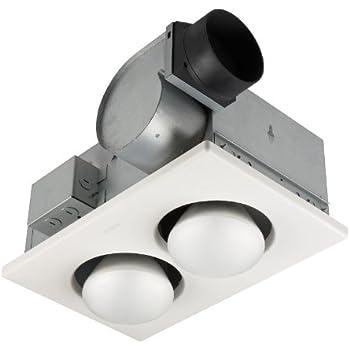 Broan-Nutone9427PBulb Heater and Fan, Energy-Saving 2-Bulb Infrared Ceiling Heater, White, 500-Watt, 3.5 Sones, 70 CFM