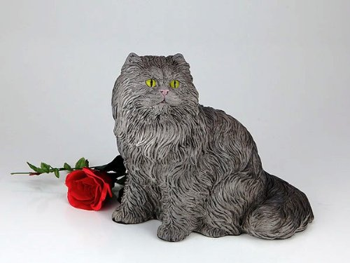 Longhair Gray Cat Cremation Pet Urn for secure installation of your beloved pet's ashes indoors or outdoors