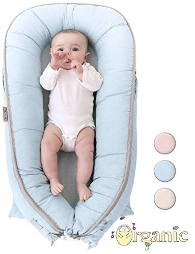 Organic Newborn Lounger | Water-Proof Baby Nest | Portable Bed for Infants & Toddlers 0-12 Month | for Girls and Boys | Use as Bassinet, Play Pillow, Mobile Crib (Blue)