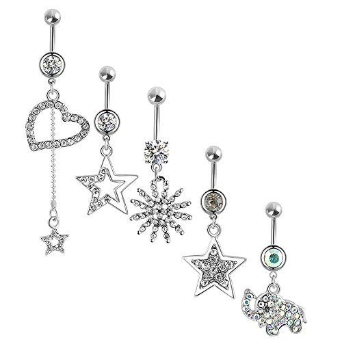 5Pcs Dangle Belly Button Rings for Women Girls Navel Rings Curved Barbell Body Jewelry Piercing 14G (Silvery2 Colorful gems 14G=1.6mm) ... (Belly Rings Wholesale)