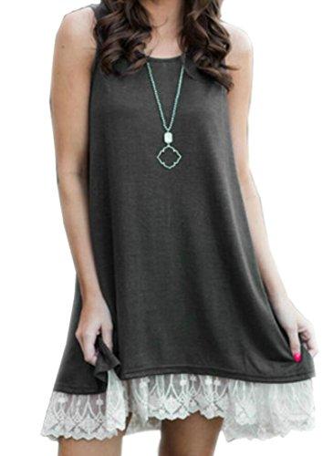 Women's Sleeveless Lace Patchwork Neck Deep Swing Mini Gray Round Tunic Loose Domple Dress Ygxtw1dqY