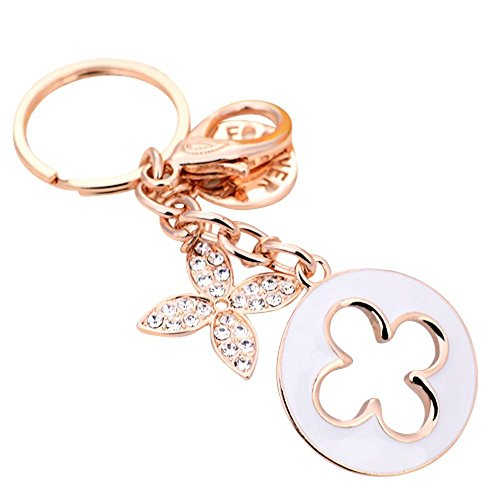 JewelBeauty Charms Four Leaf Clover Keychain Rose Gold Plated Crystal Elements Women Car Keychain Handbag Decoration Gift (White) ()