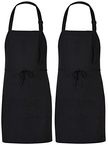Utopia Adjustable Bib Apron with 2 Pockets - Cooking Kitchen Aprons for Women, Men, Chef - Black (2) (Knee Bib Length)