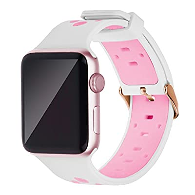 Oitom 42mm/44mm XL Large Bands Compatible with Apple Watch Series 4 44mm, Series 3/2/1 42mm, Men IWATCH, Heavy Stainless Steel Metal Link Bracelet Wristbands Strap (Pink)