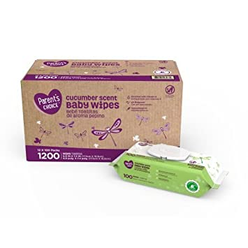 Parents Choice Baby Wipes, 12 packs of 100 (1200 count) (Cucumber Scent