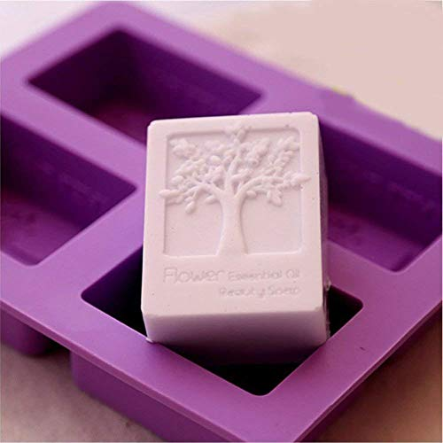 (Echodo 4 Cavities Rectangle Life Tree Silicone Soap Mold DIY Craft Art Cake Mold Handmade Silicone Molds for Soap Candle)