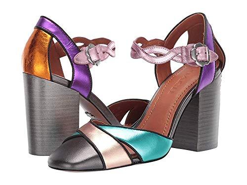 (Coach Women's Ankle Strap Pump - Metallic Vachetta Color Blocked Metallic Multi 5.5 B US)