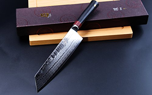 TUO Cutlery Ring D Series Japanese Damascus Kiritsuke 8.5 inch Nakiri Vegetable Kitchen Knife - Premium AUS-10 High Carbon Damascus Stainless Steel by TUO Cutlery (Image #5)
