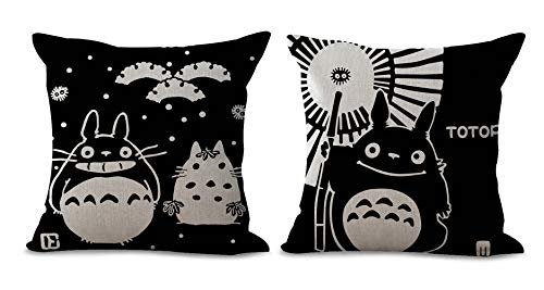 HomeTaste Pack of 2 Cute Totoro Decorative Throw Pillow Cover 18x18 Inches Cushion Case for Home Bed Sofa Couch Car Decoration