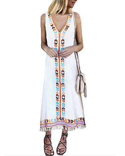 CNFIO Women Floral Bohemian Dress V-Neck Sleeveless Tassel Fringed Maxi Dress White M