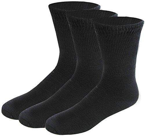 Full Foot Stocking (3 Pairs Diabetic Crew Circulatory Socks for Men or Women (9-11 Black 3)