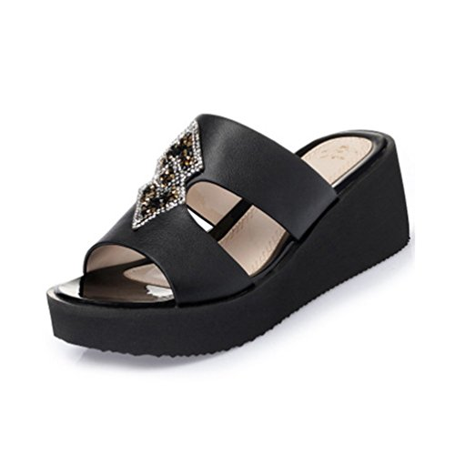 Plate Jrenok Strappy Robe Noir Open Diapositives Sandales forme Toe Wedges Scintillante Confort Strass Womens 6q8SxwAqHF