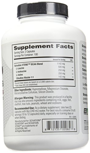Scivation Xtend BCAA Capsules w/Citrulline Malate, Branched Chain Amino Acids, 1000mg BCAAs, 200 Count