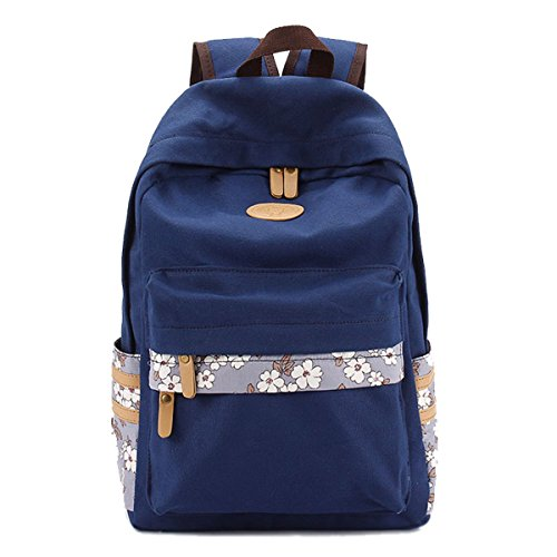 Tititina Fashion Canvas Backpack Schoolbag College Student Laptop Bag Casual Travel Bag Daypack for Teen Girl Boys Bookbag