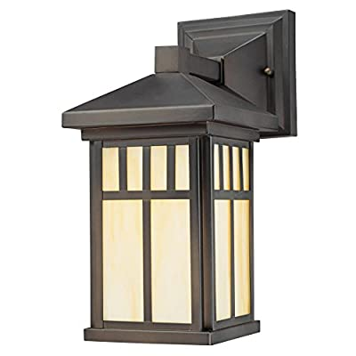 Westinghouse Lighting 6732800 Burnham One-Light Exterior Wall Lantern on Steel with Honey Art Glass, Oil Rubbed Bronze Finish, 1 Pack, - One-light fixture is perfect for use in front or back entryways or on a porch Outdoor rated fixture, oil rubbed bronze finish, honey art glass Use one 100 watt maximum medium-base light bulb - patio, outdoor-lights, outdoor-decor - 41AD83aywOL. SS400  -