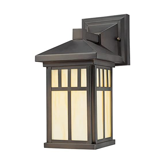Westinghouse Lighting 6732800 Burnham One-Light Exterior Wall Lantern on Steel with Honey Art Glass, Oil Rubbed Bronze Finish, 1 Pack, - One-light fixture is perfect for use in front or back entryways or on a porch Outdoor rated fixture, oil rubbed bronze finish, honey art glass Use one 100 watt maximum medium-base light bulb - patio, outdoor-lights, outdoor-decor - 41AD83aywOL. SS570  -